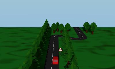 Ansicht der Straßensituation Doppelkurve mit Verkehrsschild und roten Auto.