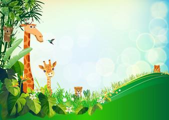 animal vectors summer backgrounds