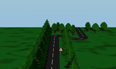 Ansicht der Straßensituation Doppelkurve mit Verkehrsschild.