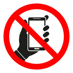 sign forbidden phone on white background