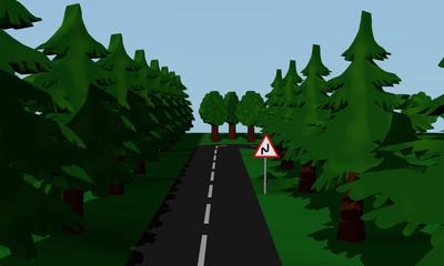 Darstellung der Straßensituation Doppelkurve mit Verkehrsschild.