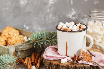 Hot Christmas cacao with marshmallow