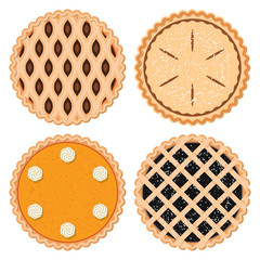 vector set of homemade berry,fruit and pumpkin pies