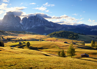 Alps sunrise green mountain panorama landscape, Alpe di Siusi