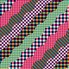 Seamless background pattern. Imitation of a patchwork pattern. Wavy diagonal shapes.