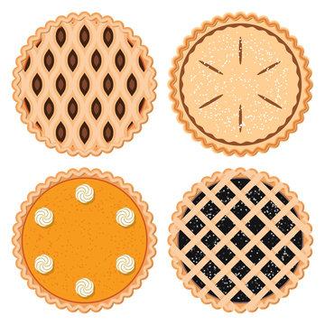 vector set of homemade berry,fruit and pumpkin pies