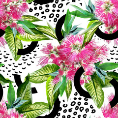 Tropical seamless pattern. Watercolor illustration.