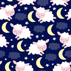 seamless sheep pattern vector illustration