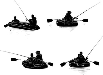 fishermen in four boats silhouette isolated on white
