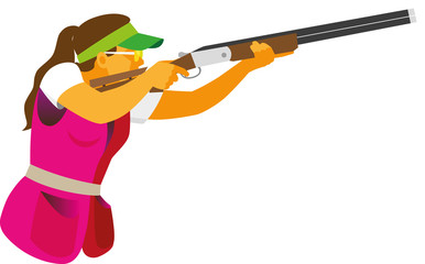 A young woman taking part in competitions of clay pigeon a shooting