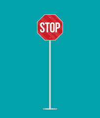 A vector stop sign on a pole in flat style
