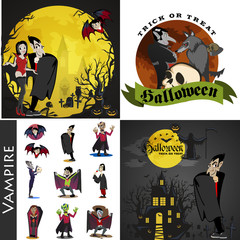 Halloween backgrounds set with vampire and their castle under full moon and cemetery, Draculas monster in coffin flat vector illustrations, good for Halloween party invitation or flyer, greeting card