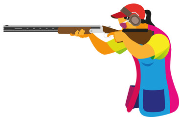 A young woman is a clay pigeon shooter who participates in competitions