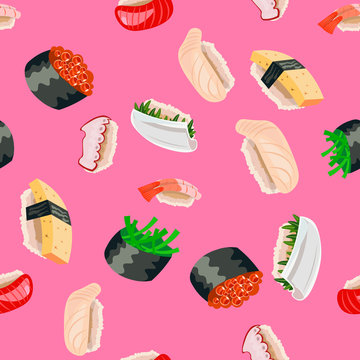 Isometric sushi seamless pattern on pink background