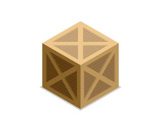Flat vector isometric wood box