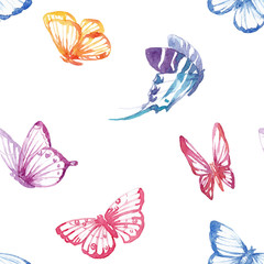 Watercolor butterfly vector pattern