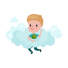 Cute little boy playing on a cloud, kid fantasizes and dreams cartoon vector Illustration