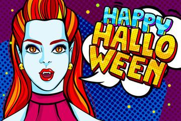 Vampire girl and Happy Halloween Message