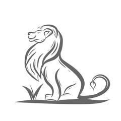 sitting lion art black white
