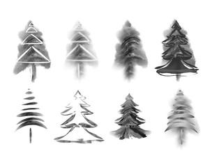 Watercolor fir trees. Raster Illustration.