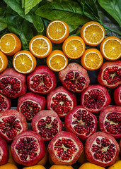 Closeup of oranges and pomegranates at a juice stall,  Istanbul, Turkey.
