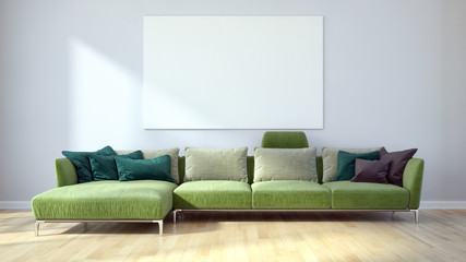 Modern bright living room, white wall. 3D rendering