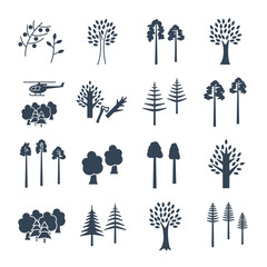 set of black icons abstract trees