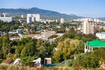 Alushta city skyline in sunny morning