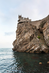 Swallow Nest Castle over Black Sea in evening