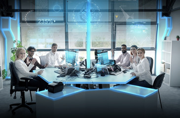business team at office with virtual screens