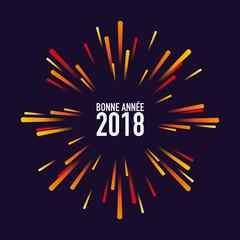 2018, carte de vœux, feu d'artifice, bonne année, carré, fête
