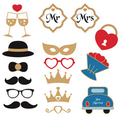 Vector collection of wedding objects