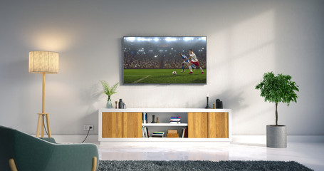Living room led tv showing soccer game
