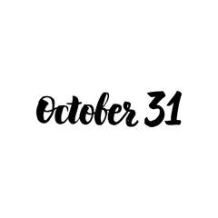 October 31 Lettering