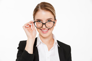 Close up picture of smiling blonde business woman in eyeglasses