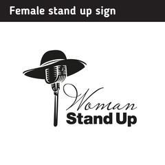 Logo for female standup, black and white sign