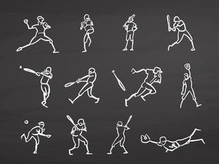 Baseball player doodles on chalkboard