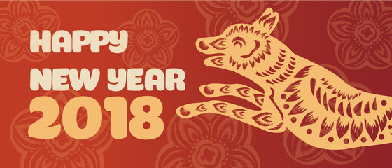 Banner with a dog in the style of the tribe and the text of the new year