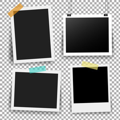 Photo Frame Set With Adhesive Tape In Transparent Background