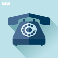 Retro phone icon in flat style on color background. Vector design object for you project