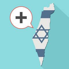 Animation of a long shadow Israel map with its flag and a comic balloon with a sum sign
