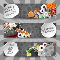 Halloween horizontal banners with flat icons stickers on gray background