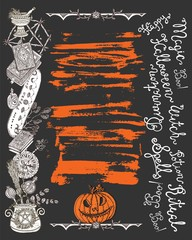 Halloween poster with scary witch objects, pumpkinhead and lettering on texture background