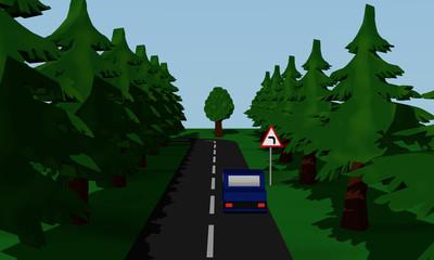 Darstellung der Straßensituation Kurve Links  mit  deutschem Verkehrsschild und blauen Auto.