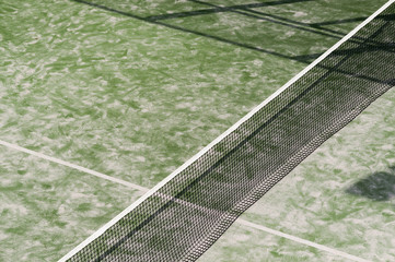 network of a paddle tennis court seen from above