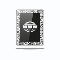 Cool tablet with website logo for web design