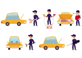 Auto mechanic, car service, repair and maintenance workshop, cartoon vector illustration isolated on white background. Auto mechanic repairing, oiling, cleaning a car, car maintenance concept set