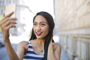 Beautiful girl making a selfie