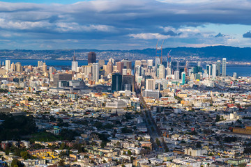 Panoramic view of San Francisco at Sunset from Twin Peaks Hill, San Francisco, California, USA