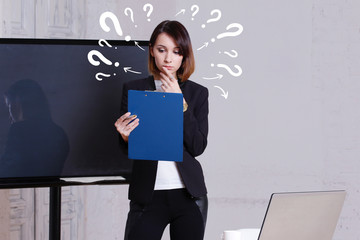 Wall Mural - Question icon. Business question woman work in office on notebook